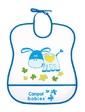 Canpol babies Мягкий пластиковый слюнявчик, бело-синий с осликом,